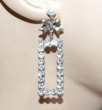 ORECCHINI donna argento strass cristalli perla ciondolo fiocco regalo boucles d'oreilles CC132