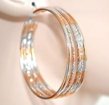 ORECCHINI donna CERCHI ORO ARGENTO eleganti da cerimonia dorati boucles earrings ohrringe 800
