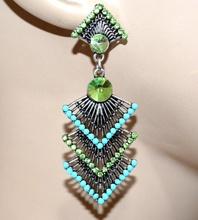 ORECCHINI donna etnici argento tibetano strass verdi perline azzurre ragazza regalo G7
