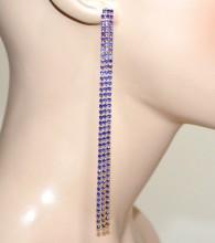 ORECCHINI donna ORO BLU fili pendenti lunghi eleganti boucles d'oreilles E126