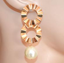 ORECCHINI donna ORO dorati ciondolo perla bianca cerchi pendenti gold earrings CC233