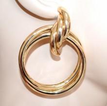 ORECCHINI donna oro dorato cerchi pendenti metallo lucido intrecciati earrings BB35