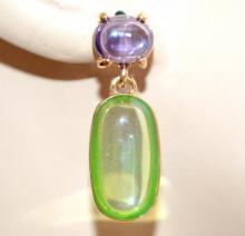 ORECCHINI donna ORO LILLA GLICINE Ametista VERDE Giada pietre cristalli pendenti earrings N65
