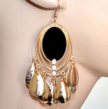 ORECCHINI donna oro nero etnici pendenti ovali pendagli monetine strass brincos CC83