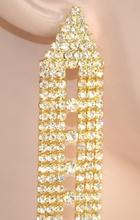 ORECCHINI donna ORO strass cristalli cerimonia eleganti sposa earrings 1095