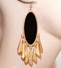 ORECCHINI donna ovali oro dorati pendenti lunghi ciondoli sonaglini ragazza pendientes CC121