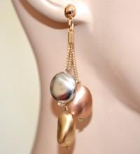 ORECCHINI donna pendenti oro dorati argento rosa pietre satinate ciondoli GP5