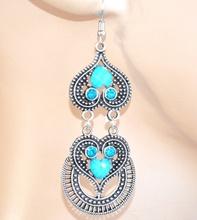 Orecchini donna ragazza argento pietre azzurre strass pendenti cuori brillantini F60