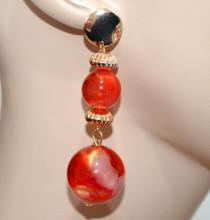 ORECCHINI donna ROSSO CORALLO ORO donna ciondoli sfere pendenti earrings CC9