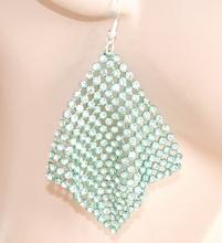 Orecchini donna VERDE cristalli STRASS eleganti pendenti brillantini pendientes 1405