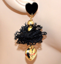 ORECCHINI NERI ORO donna ciondolo cuore pizzo dorati pendenti earrings CC190