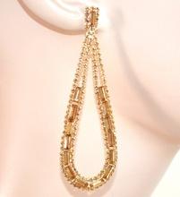 ORECCHINI ORO AMBRA donna strass cristalli pendenti goccia ovali boucles eleganti F5