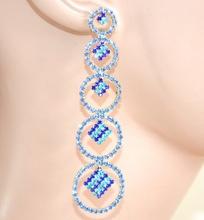 ORECCHINI ORO  AZZURRO CELESTE BLU  donna strass pendenti cerchi  cristalli eleganti cerimonia L15