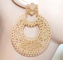 ORECCHINI oro dorati donna cerchi pendenti filigrana lucidi metallizzati CC125