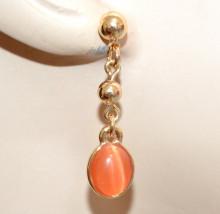 ORECCHINI ORO PIETRA AMBRA CORALLO donna dorati ciondoli charms pendenti pendientes N79