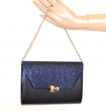 POCHETTE BLU borsello donna borsa shimmer brillantini borsetta handväska G60