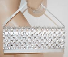 POCHETTE donna ARGENTO strass CRISTALLI borsello elegante clutch raso cerimonia 60X