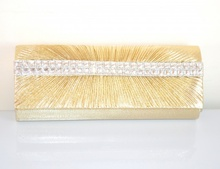 POCHETTE donna BORSELLO Elegante da CERIMONIA borsa CRISTALLI oro strass 450B