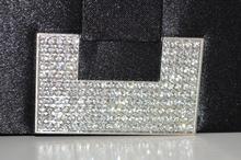 POCHETTE donna CERIMONIA borsello elegante borsa strass cristalli da sera NERO 98