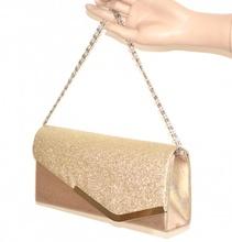 Pochette donna ORO borsello brillantini borsa cerimonia elegante da sera F50