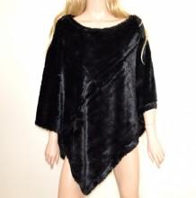 PONCHO MANTELLA NERA donna eco pelliccia coprispalle mantellina ragazza viitta G53