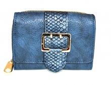 PORTAFOGLIO BLU donna fibbia oro borsello portamonete borsellino clutch G6