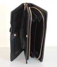 PORTAFOGLIO BORSELLO da borsa donna NERO zip oro borsellino portamonete pochette A12
