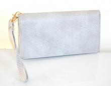 PORTAFOGLIO BORSELLO donna grigio argento zip oro borsellino portamonete pochette A12