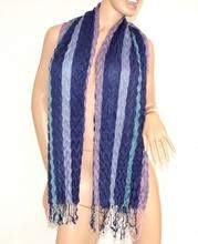 SCIARPA donna BLU AZZURRO GLICINE stola ELEGANTE da sera SCIALLE frangia lana scarf écharpe schal шарф 50
