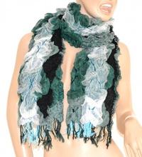 SCIARPA VERDE NERO BIANCO donna scaldacollo elegante frange écharpe scarf шарф scarf schal bufanda 30