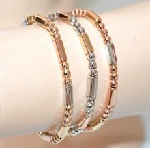 SET3 BRACCIALI donna argento oro rosa dorato elastici metallo lucido bracelet GP16