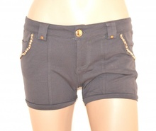 SHORTS GRIGIO pantalone donna pantaloncino corto cintura oro perle sexy F160