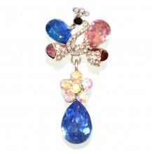 SPILLA donna argento cristalli blu rosa rosso strass cigno fermaglio foulard brooch CC10