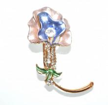 SPILLA ROSA BLU donna oro dorata fiore strass cristalli fermaglio brooch CC20