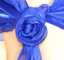 STOLA BLU maxi coprispalle foulard organza donna scialle seta elegante F5