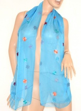 Stola cerimonia donna coprispalle maxi foulard azzurro velato elegante sciarpa seta x vestito da sera 106H