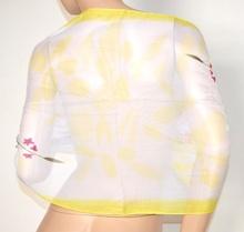 STOLA coprispalle donna 40% seta velata bianco giallo foulard elegante cerimonia A22