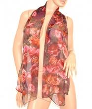 Stola coprispalle foulard donna lilla viola rosa a fiori seta cerimonia velato elegante 160H