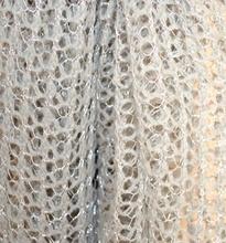 STOLA donna ARGENTO intrecciata coprispalle filo argento scialle da cerimonia elegante da sera Z8