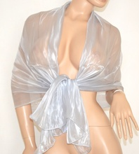 STOLA donna ARGENTO PLATINO ELEGANTE coprispalle da sera foulard da cerimonia seta organza