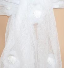 STOLA donna BIANCA foulard ragazza coprispalle velato cerimonia floreale 95X