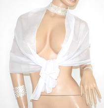 STOLA donna BIANCA foulard SETA elegante coprispalle abito SPOSA da cerimonia 15X