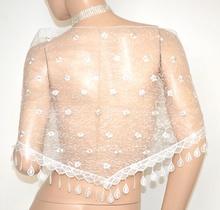 STOLA donna BIANCA scialle donna coprispalle ricamato velato frange elegante A12