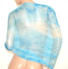 STOLA donna coprispalle AZZURRO CELESTE maxi foulard scialle elegante velato cerimonia brillantini A2