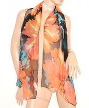 STOLA donna elegante NERO CORALLO foulard COPRISPALLE seta da cerimonia 5N