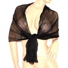 STOLA donna foulard DA CERIMONIA coprispalle SCIARPA da sera tinta unita nero elegante 155G
