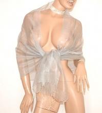 STOLA donna GRIGIO ARGENTO elegante 30% SETA velata foulard coprispalle scialle da cerimonia E90