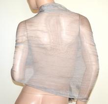STOLA donna GRIGIO coprispalle 50% SETA scialle pizzo foulard ricamato étole sjal A30