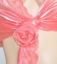 Stola donna ROSA coprispalle MAXI foulard DAMIGELLA cerimonia x abito da sera elegante F5