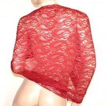 STOLA donna ROSSA coprispalle scialle pizzo ricamato foulard elegante cerimonia G35